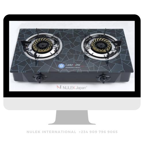 Euroking 2Hob Glass Top Gas Cooker - Model EKG-1015GB